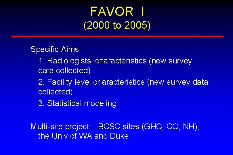 FAVOR I (2000 to 2005) Specific Aims 1. Radiologists' characteristics (new survey data collected)