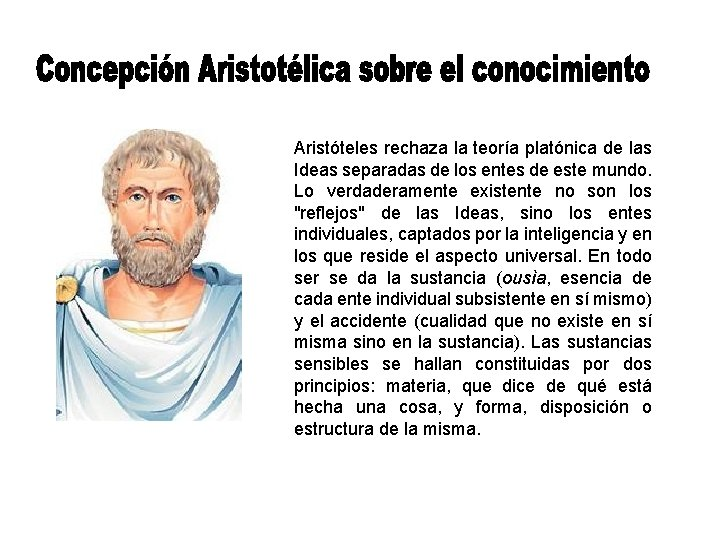 Aristóteles rechaza la teoría platónica de las Ideas separadas de los entes de este
