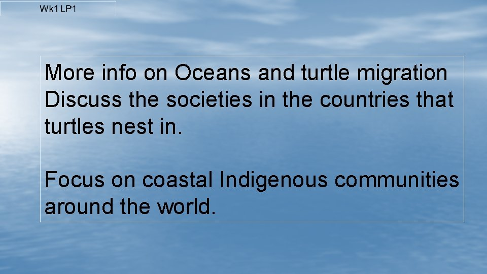 More info on Oceans and turtle migration Discuss the societies in the countries that