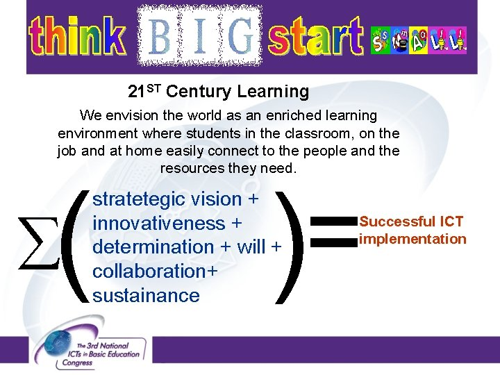 21 ST Century Learning We envision the world as an enriched learning environment where