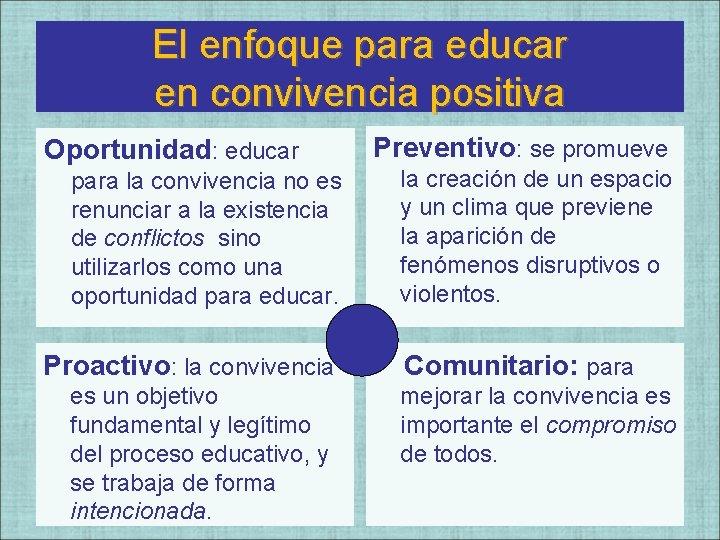 El enfoque para educar en convivencia positiva Oportunidad: educar para la convivencia no es