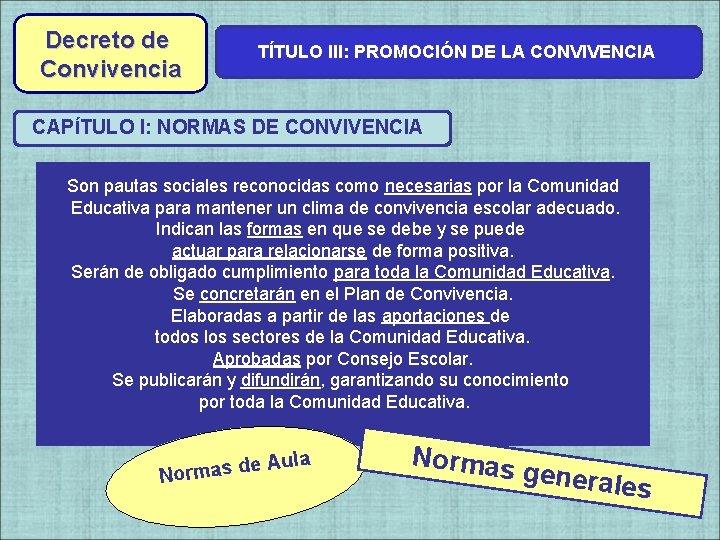 Decreto de Convivencia TÍTULO III: PROMOCIÓN DE LA CONVIVENCIA CAPÍTULO I: NORMAS DE CONVIVENCIA