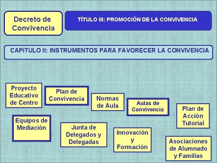 Decreto de Convivencia TÍTULO III: PROMOCIÓN DE LA CONVIVENCIA CAPÍTULO II: INSTRUMENTOS PARA FAVORECER