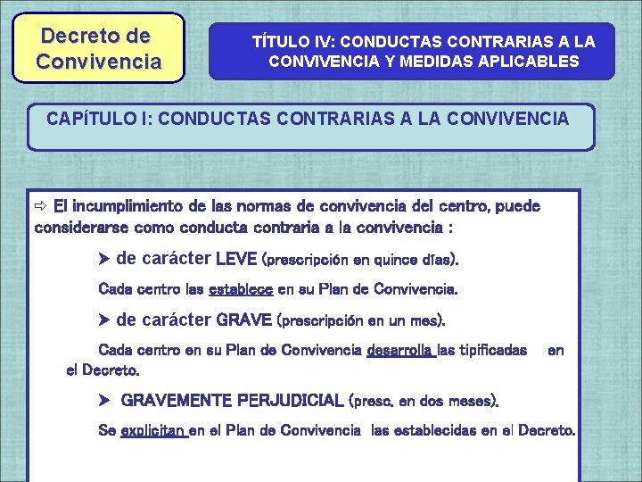Decreto de Convivencia TÍTULO IV: CONDUCTAS CONTRARIAS A LA CONVIVENCIA Y MEDIDAS APLICABLES CAPÍTULO
