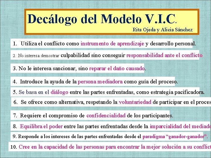 Decálogo del Modelo V. I. C. Rita Ojeda y Alicia Sánchez 1. Utiliza el