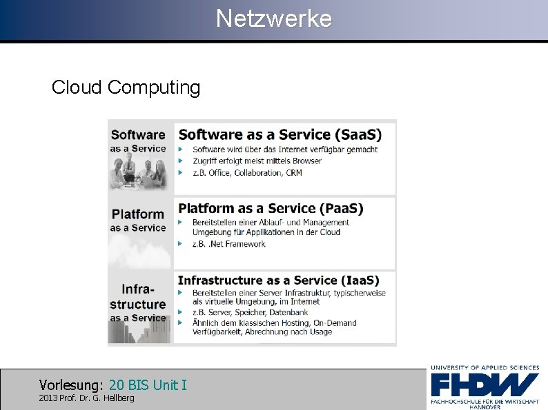 Netzwerke Cloud Computing Vorlesung: 20 BIS Unit I 2013 Prof. Dr. G. Hellberg