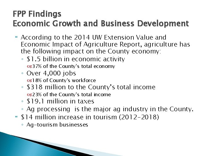 FPP Findings Economic Growth and Business Development According to the 2014 UW Extension Value
