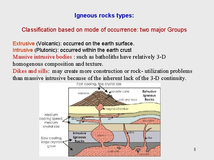 Igneous rocks types: Classification based on mode of occurrence: two major Groups Extrusive (Volcanic):