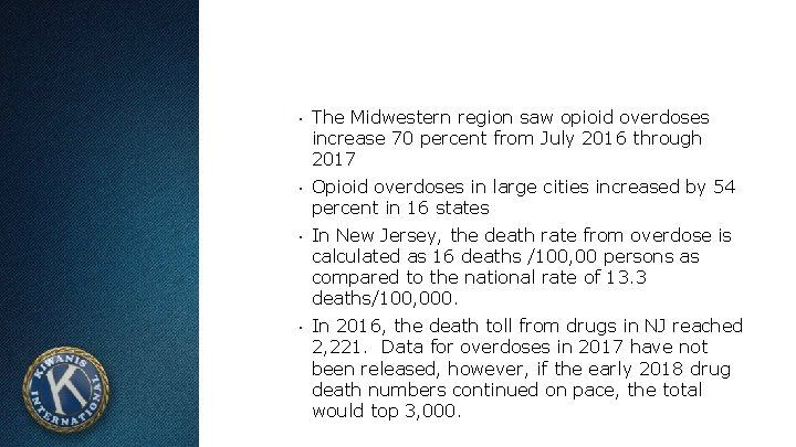 ▪ The Midwestern region saw opioid overdoses increase 70 percent from July 2016 through