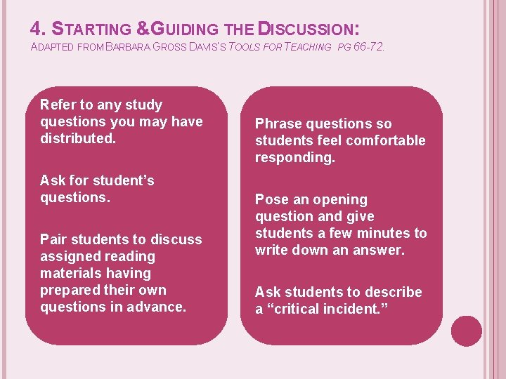 4. STARTING &GUIDING THE DISCUSSION: ADAPTED FROM BARBARA GROSS DAVIS'S TOOLS FOR TEACHING Refer