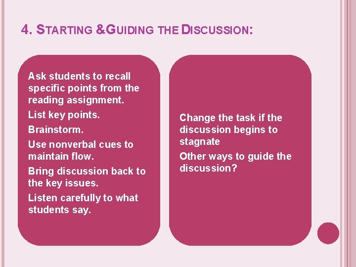 4. STARTING &GUIDING THE DISCUSSION: Ask students to recall specific points from the reading