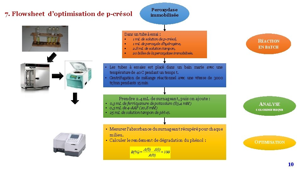 7. Flowsheet d'optimisation de p-crésol Peroxydase immobilisée Dans un tube à essai : 1