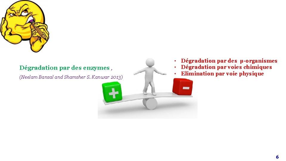 Dégradation par des enzymes , (Neelam Bansal and Shamsher S. Kanwar 2013) • Dégradation