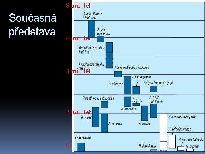 8 mil. let Současná představa 6 mil. let 4 mil. let 2 mil. let