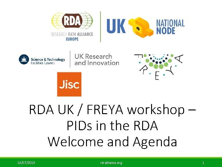 RDA UK / FREYA workshop – PIDs in the RDA Welcome and Agenda 16/07/2019