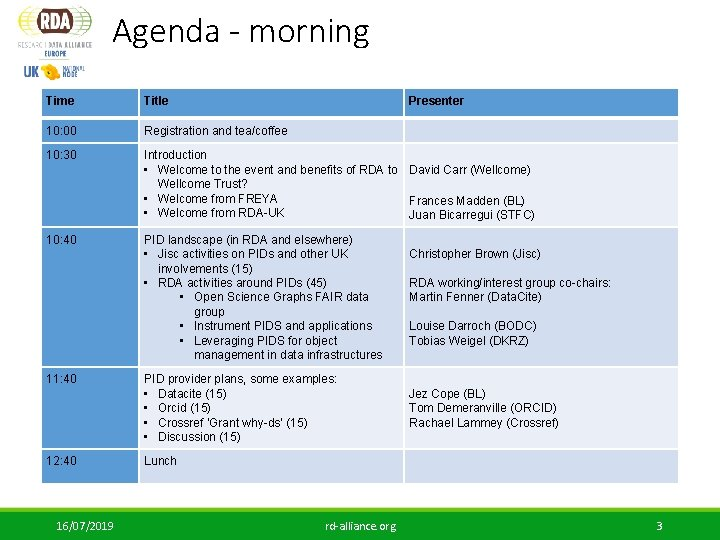 Agenda - morning Time Title Presenter 10: 00 Registration and tea/coffee 10: 30 Introduction