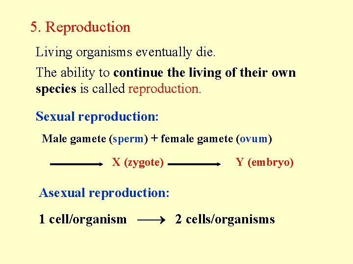 5. Reproduction Living organisms eventually die. The ability to continue the living of their