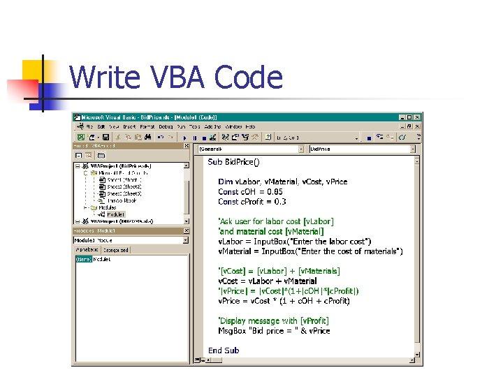 Write VBA Code