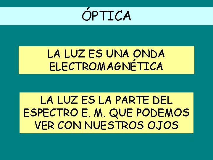 ÓPTICA LA LUZ ES UNA ONDA ELECTROMAGNÉTICA LA LUZ ES LA PARTE DEL ESPECTRO