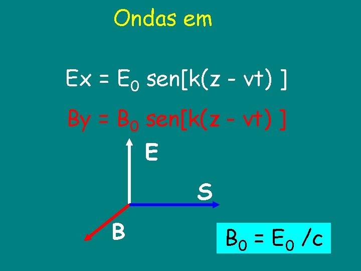 Ondas em Ex = E 0 sen[k(z - vt) ] By = B 0