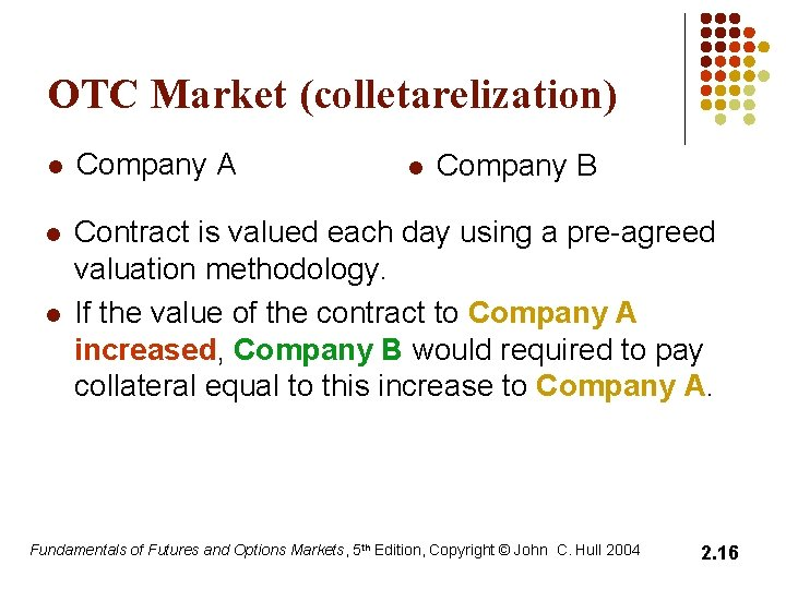 OTC Market (colletarelization) l Company A l Contract is valued each day using a