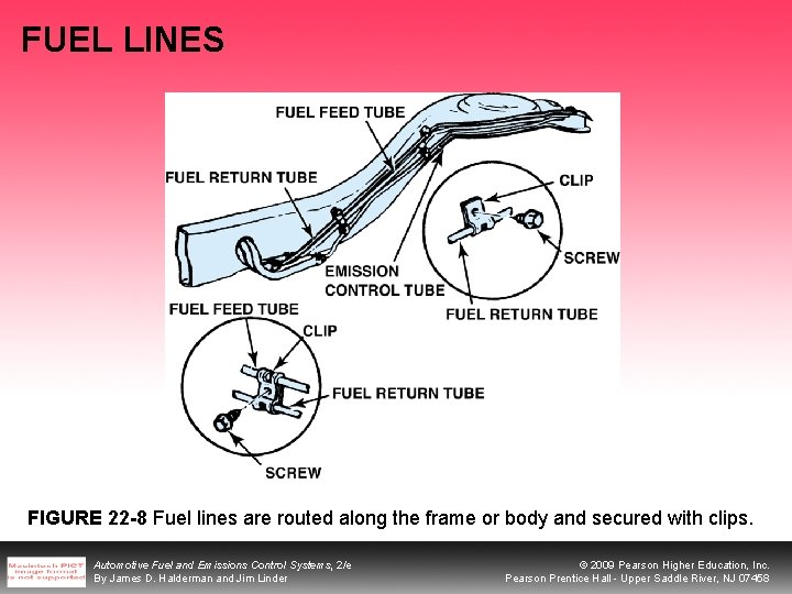 FUEL LINES FIGURE 22 -8 Fuel lines are routed along the frame or body