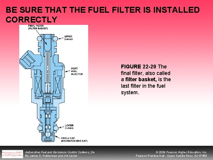 BE SURE THAT THE FUEL FILTER IS INSTALLED CORRECTLY FIGURE 22 -20 The final