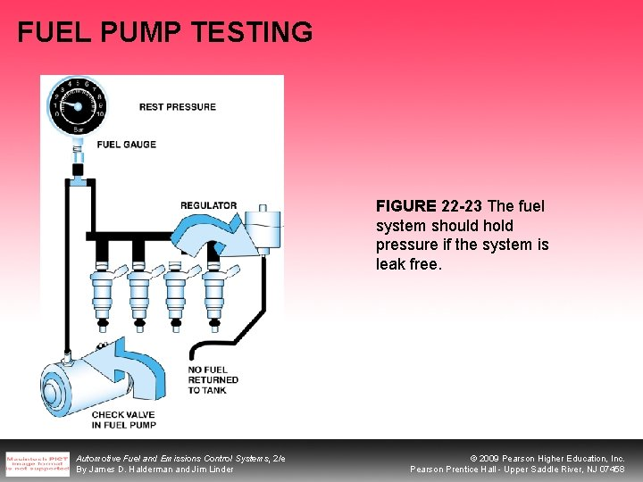 FUEL PUMP TESTING FIGURE 22 -23 The fuel system should hold pressure if the