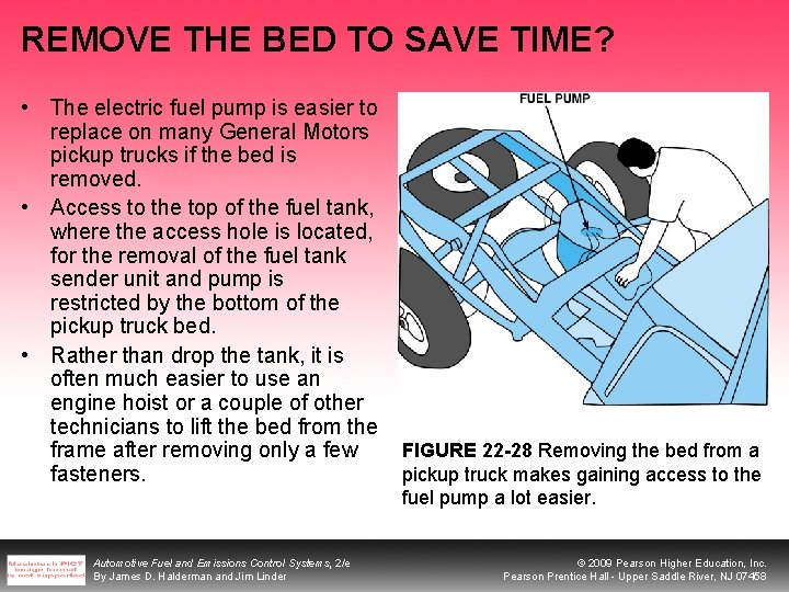 REMOVE THE BED TO SAVE TIME? • The electric fuel pump is easier to