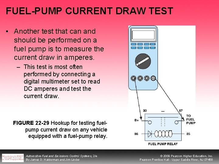 FUEL-PUMP CURRENT DRAW TEST • Another test that can and should be performed on