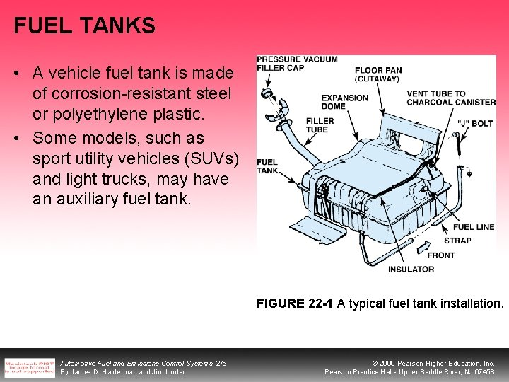 FUEL TANKS • A vehicle fuel tank is made of corrosion-resistant steel or polyethylene