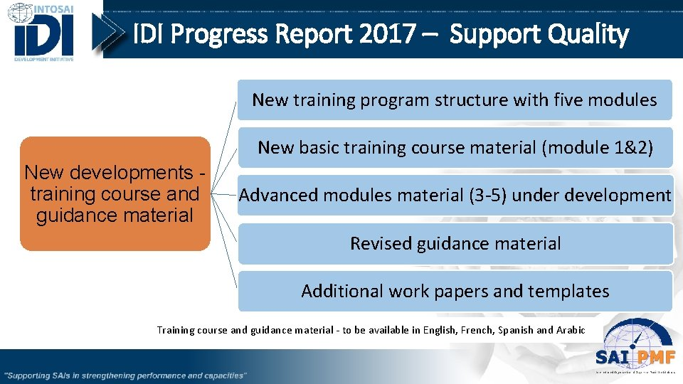 IDI Progress Report 2017 – Support Quality New training program structure with five modules
