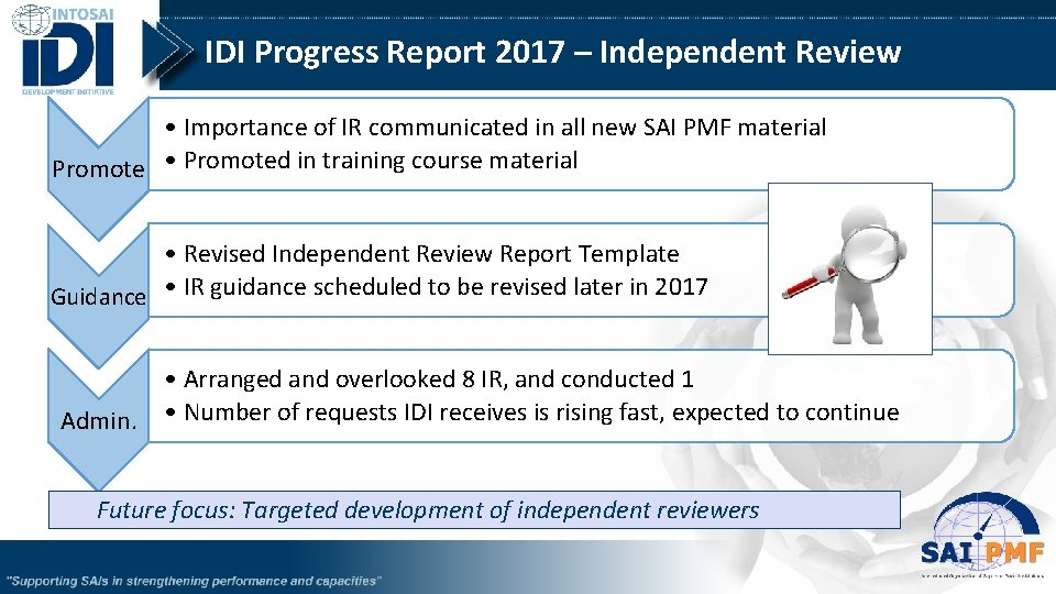 IDI Progress Report 2017 – Independent Review • Importance of IR communicated in all
