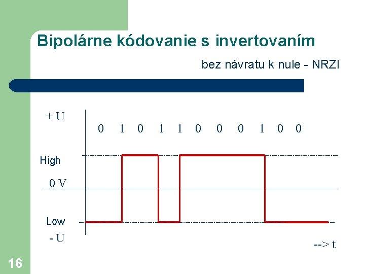 Bipolárne kódovanie s invertovaním bez návratu k nule - NRZI +U 0 1 1