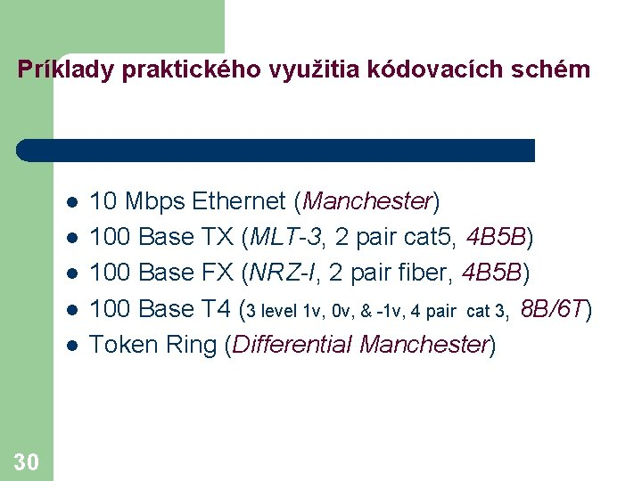 Príklady praktického využitia kódovacích schém l l l 30 10 Mbps Ethernet (Manchester) 100