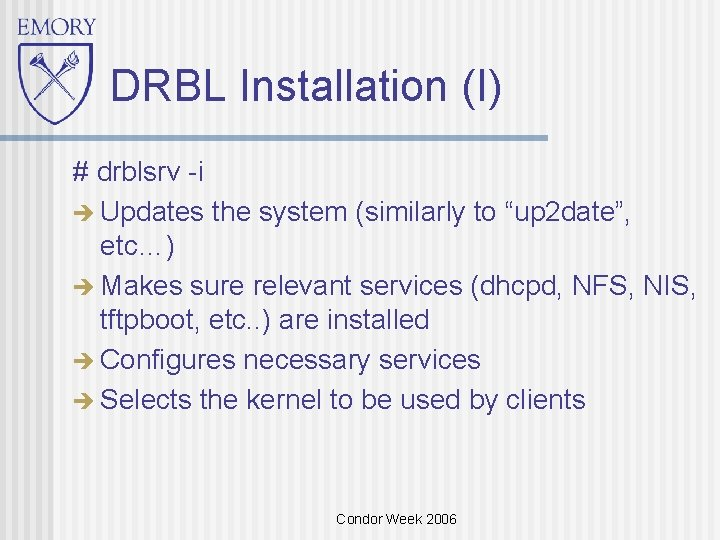 "DRBL Installation (I) # drblsrv -i Updates the system (similarly to ""up 2 date"","