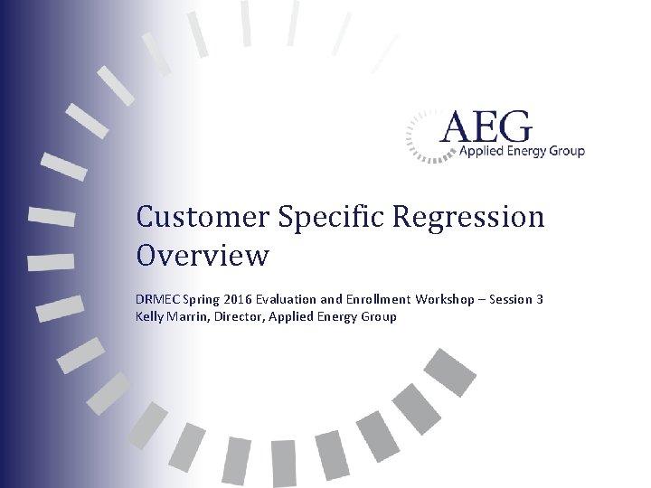 Customer Specific Regression Overview DRMEC Spring 2016 Evaluation and Enrollment Workshop – Session 3