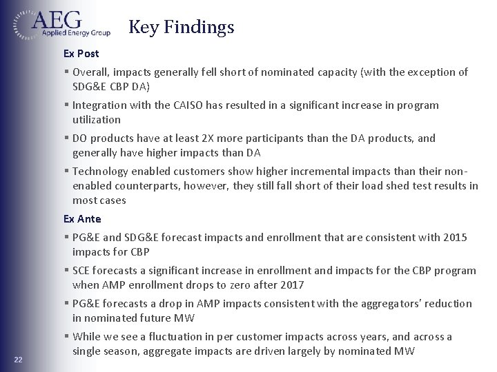 Key Findings Ex Post 22 § Overall, impacts generally fell short of nominated capacity