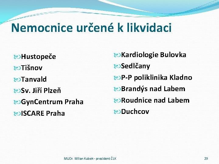 Nemocnice určené k likvidaci Hustopeče Tišnov Tanvald Sv. Jiří Plzeň Gyn. Centrum Praha ISCARE