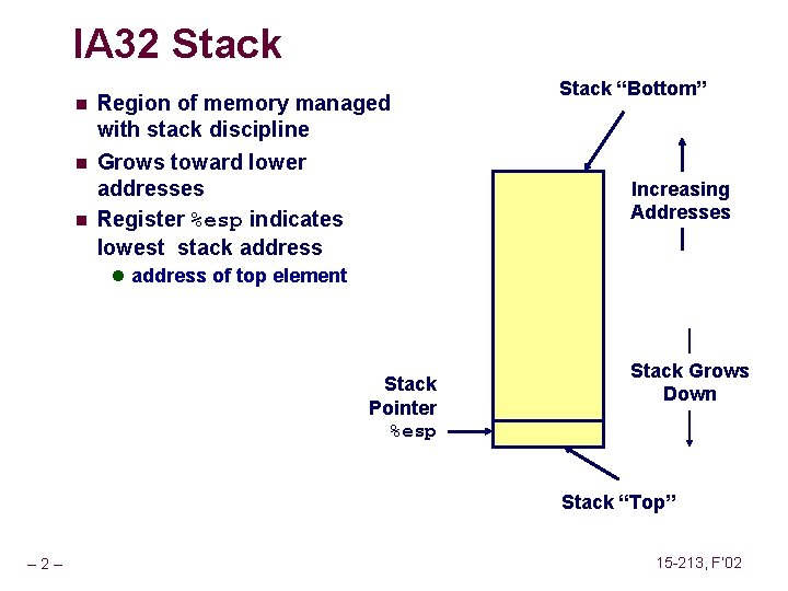 IA 32 Stack n Region of memory managed with stack discipline n Grows toward