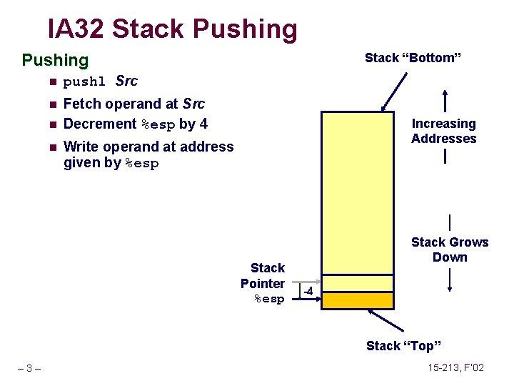 IA 32 Stack Pushing n pushl Src n Fetch operand at Src Decrement %esp