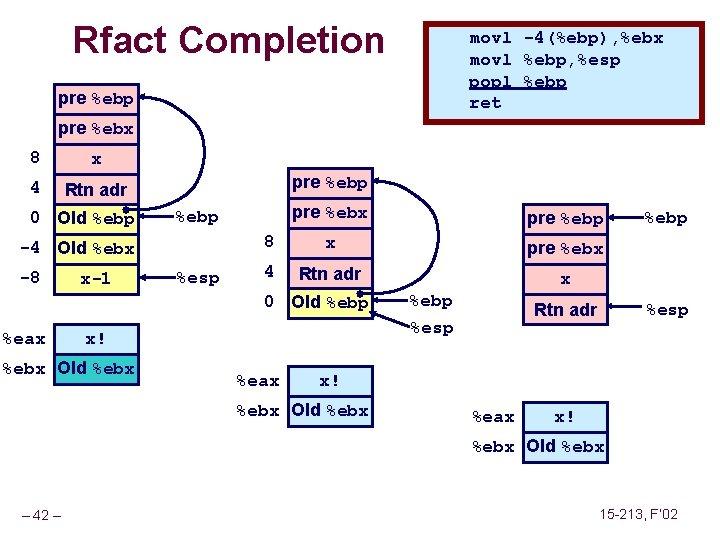Rfact Completion movl -4(%ebp), %ebx movl %ebp, %esp popl %ebp ret pre %ebp pre