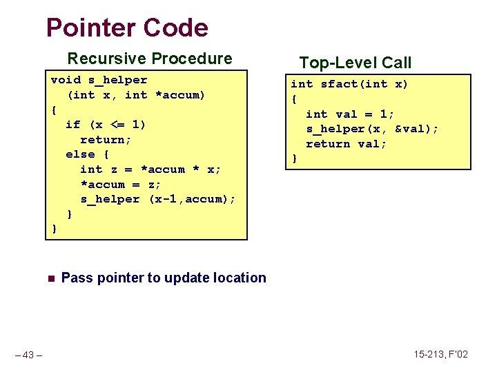 Pointer Code Recursive Procedure void s_helper (int x, int *accum) { if (x <=