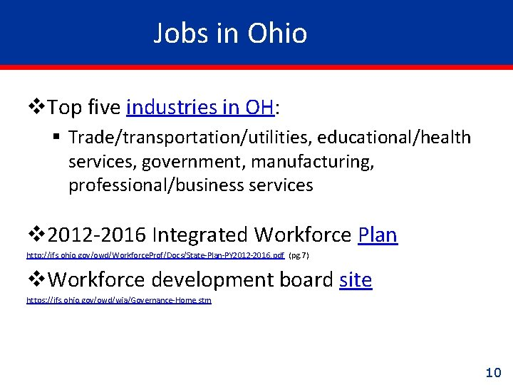 Jobs in Ohio v. Top five industries in OH: § Trade/transportation/utilities, educational/health services, government,