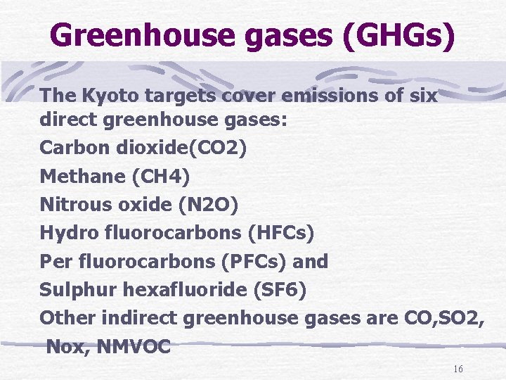 Greenhouse gases (GHGs) The Kyoto targets cover emissions of six direct greenhouse gases: Carbon