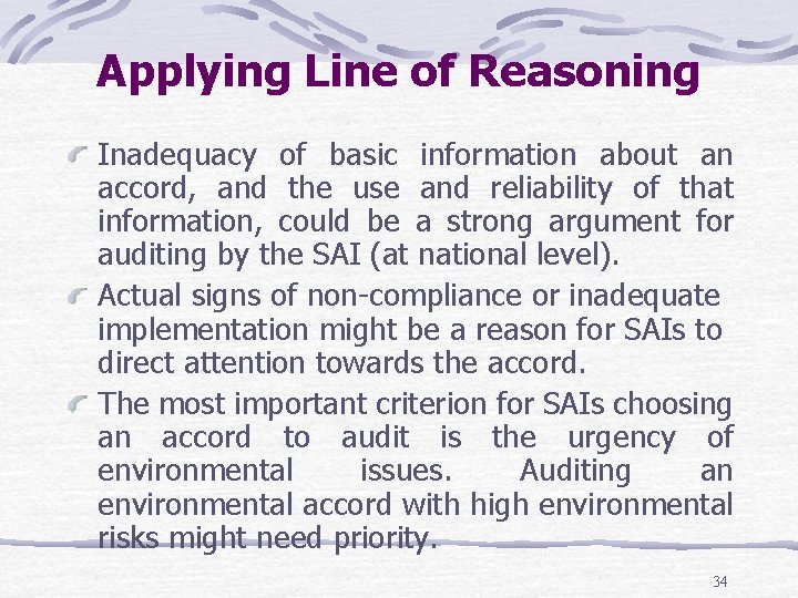 Applying Line of Reasoning Inadequacy of basic information about an accord, and the use