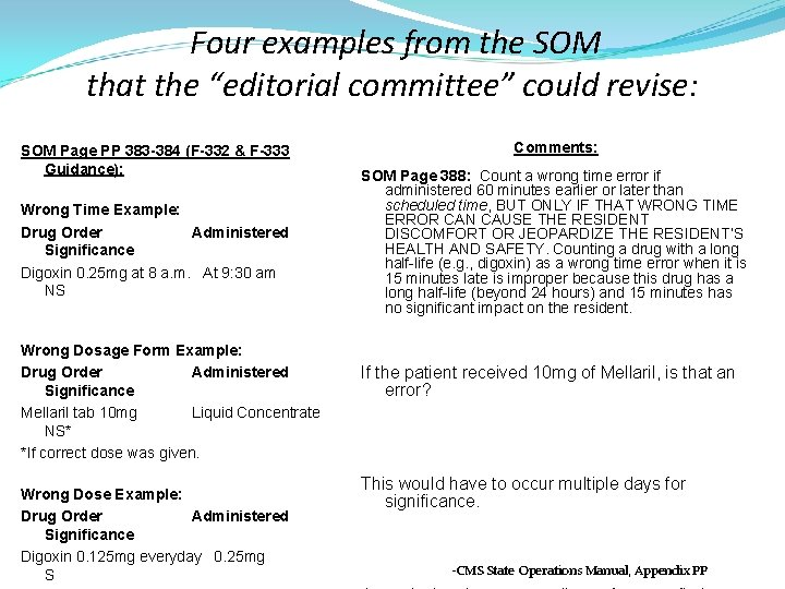 """Four examples from the SOM that the """"editorial committee"""" could revise: SOM Page PP"""