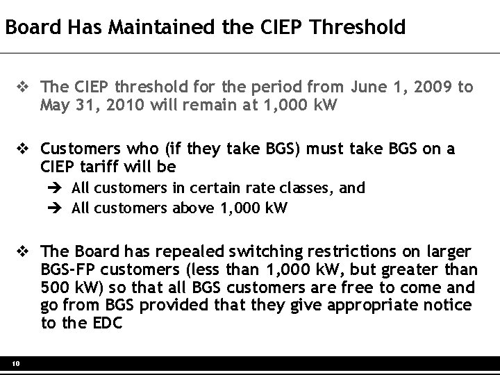 Board Has Maintained the CIEP Threshold v The CIEP threshold for the period from
