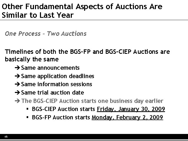 Other Fundamental Aspects of Auctions Are Similar to Last Year One Process – Two