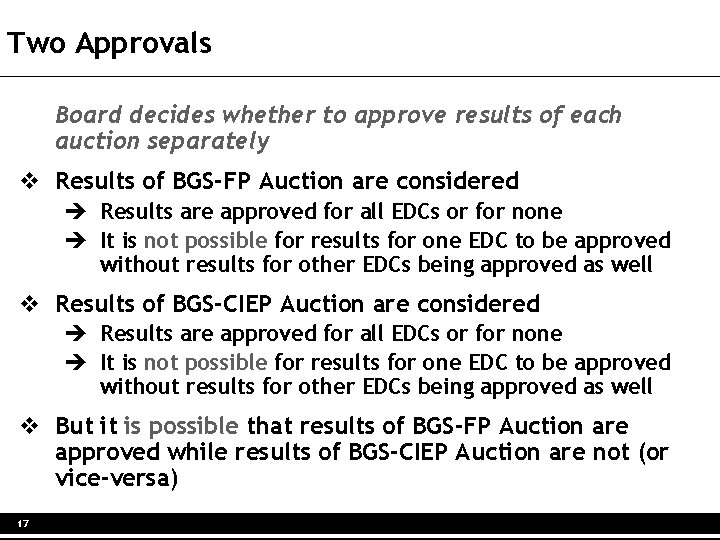 Two Approvals Board decides whether to approve results of each auction separately v Results